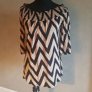Yahada Tan Black Chevron Blouse